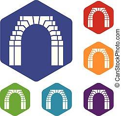 mattone, vettore, arco, hexahedron, icone
