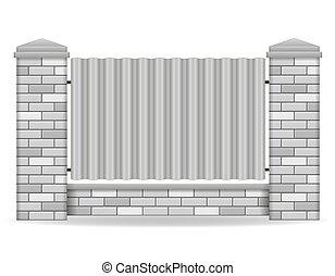 mattone, vettore, recinto, illustrazione