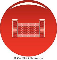 mattone, vettore, rosso, recinto, icona