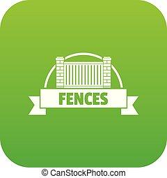 mattone, vettore, verde, recinto, icona