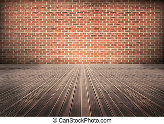 mattoni, floorboards, wal, stanza