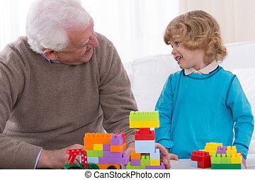 mattoni, gioco, nipote, nonno