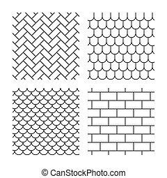 mattoni, pietra, tetto, pavimentazione, piastrella, textures.