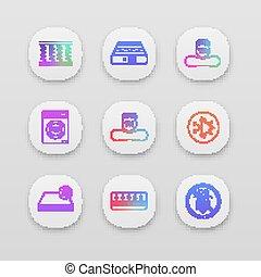 Mattress app icons set