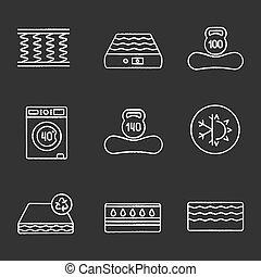 Mattress chalk icons set