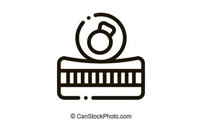 Mattress Metallic Weight Icon Animation. black Mattress Metallic Weight animated icon on white background