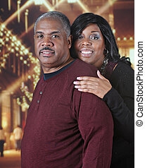 Mature African American Couple at Christmastime