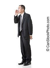 Mature Asian business man talk