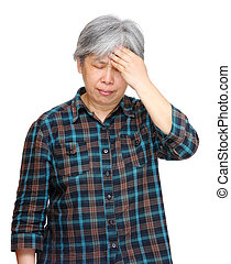 mature asian woman with headache