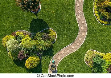 Mature Backyard Garden with Large Grass Lawn Aerial Vista