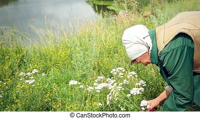 Mature beautiful woman in scarf  in the summer picking flowers and mysteriously looks toward the sky and the river on the rock