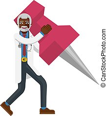 A black mature doctor cartoon character mascot man holding a big thumb tack map drawing pin concept