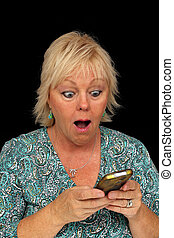 Mature Blonde Woman with Cell Phone (3)