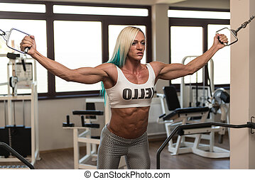 Mature Bodybuilder Is Working On Her Chest - Mature Woman Is...