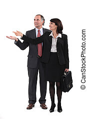 Mature business couple gesturing at blank copyspace