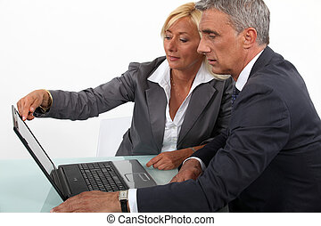 Mature business couple with a laptop