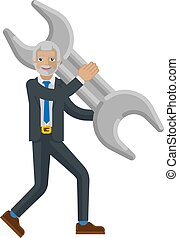 Mature Business Man Holding Spanner Wrench Concept