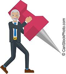 A mature businessman cartoon character mascot man holding a big thumb tack map drawing pin business concept
