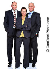 Mature business team isolated on white