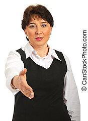 Mature business woman handshake