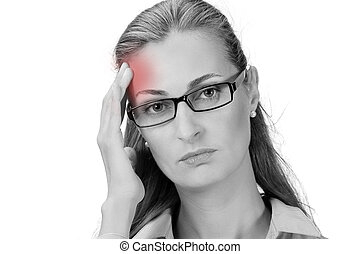 Mature business woman holding head in hands - Sick woman...