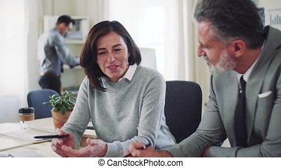 Mature businessman and businesswoman working together in office.