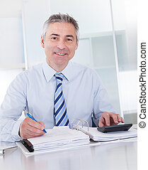 Mature Businessman At Work - Portrait Of Mature Businessman...