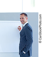 Mature businessman giving a presentation