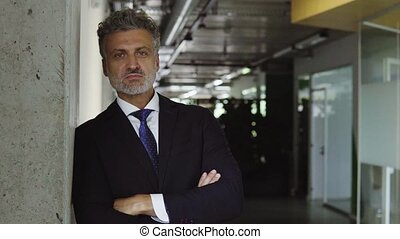 Mature businessman in black suit in the office. - Mature...