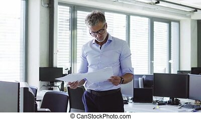 Mature businessman in the office holding documents. - Mature...