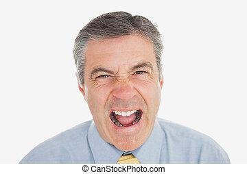 Mature businessman shouting