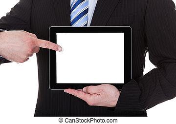 Mature Businessman Showing Digital Tablet