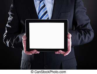 Mature Businessman Showing Digital Tablet