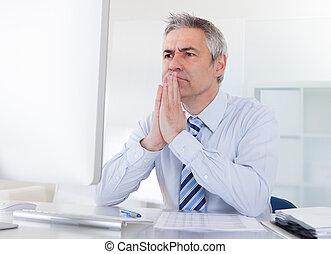 Mature Businessman Thinking - Portrait Of Mature Businessman...