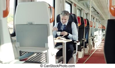 Mature businessman travelling by train. - Handsome mature...