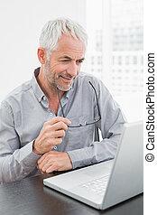 Mature businessman using laptop at office desk