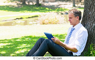 Mature businessman using tablet computer while relaxing in...