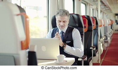 Mature businessman with laptop travelling by train. -...