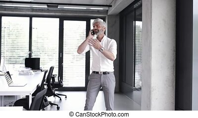 Mature businessman with smartphone in the office. - Angry...