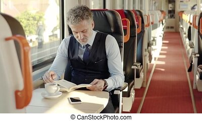 Mature businessman with smartphone travelling by train. -...