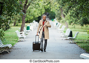 Mature businessman with suitcase walking in a park in a city, checking the time.
