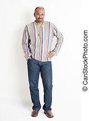Mature casual Indian male portrait - Full length confident...