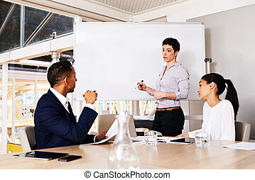 Mature businesswoman giving a formal presentation to two other members of her firms board to ask for their consent to pursue her new idea to generate revenue to increase the business's profit.