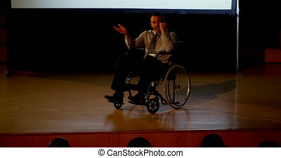 Mature Caucasian disabled businessman speaking in business ...
