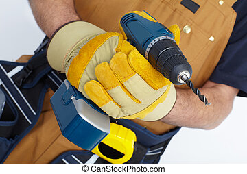 Mature Contractor. The carpenter - Contractor working with...