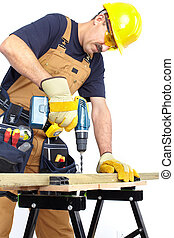 Mature contractor  with a drill. Over white background
