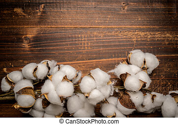 Mature cotton bowls on a wooden background