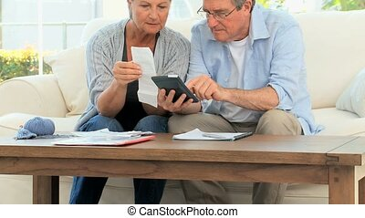 Mature couple calculating their domestic bills - Mature ...