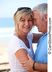 Mature couple in a loving embrace