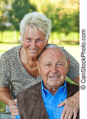 Mature couple in love senior portraits. - Mature couple in...